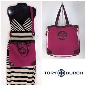 Tory Burch Canvas & Python Embossed Leather Tote